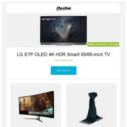 [Massdrop] LG E7P OLED 4K HDR Smart 55/65-Inch TV, Viotek 34-Inch 1440p Curved 100Hz Gaming Monitor, Royal Speyside Tartan Scarves and more...