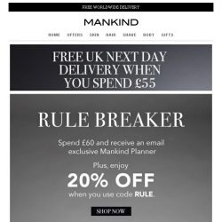 [Mankind] Rule Breaker | Save 20% Inside + Free Gift
