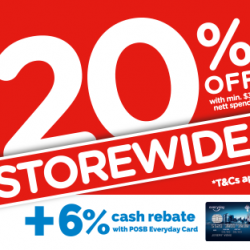 Watsons: Enjoy Storewide 20% OFF with Min. $38 Nett Spend + 6% Cash Rebate with POSB Everyday Card
