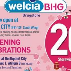 Welcia-BHG: Enjoy 20% OFF Japanese Health & Beauty Drugstore Products at Northpoint City