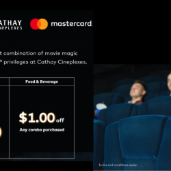 Cathay Cineplexes: Exclusive Mastercard Privileges with $8.50 Movie Tickets & $1 OFF Food & Beverage Combo