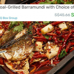 Grilled Fish 魔鱼 - BBQ Box Group: 1 - 1.2kg Charcoal-Grilled Barramundi at only $19.90!