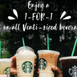 Starbucks: Enjoy 1-for-1 Venti-sized Beverage from 3pm to 5pm!