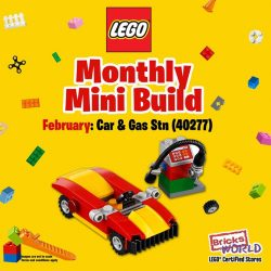 [Bricks World (LEGO Exclusive)] February Monthly Mini BuildVroom… Bring home the Cool Red & Yellow Race Car (40277) that comes with a mini Gas