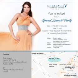 [CHRISALIS SPA] Join us for our GRAND LAUNCH PARTY on 3 Feb 2018, Saturday 3pm as we celebrate the reopening of our