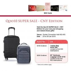 [BANK OF CHINA] Charge to any BOC Credit Card at the Qoo10 SUPER SALE – CNY Edition to redeem exclusive gifts*!