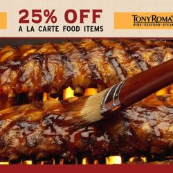 [Tony Roma's] Enjoy a 25% Discount on our world-famous pork ribs and other mouth-watering a la carte menu items!