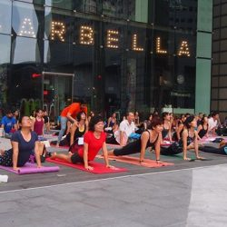 [Platinum Yoga] Yoga in the City - a Mass Outdoor Yoga Session infront of the Fountain of Wealth.
