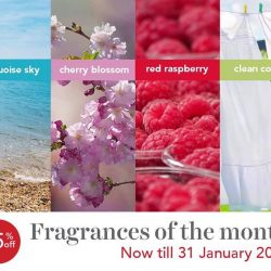[Yankee Candle] Introducing our fragrances of the month: Clean Cotton, Turquoise Sky, Cherry Blossom, and Red Raspberry.