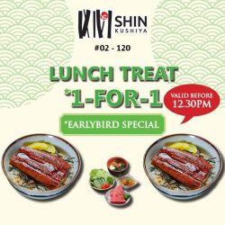 [VivoCity] Enjoy Early Bird Weekday 1-for-1 Lunch Sets from $14 at Shin Kushiya, from now till 26 Jan!
