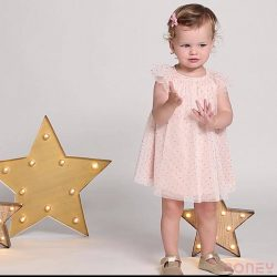 [PONEY enfants] This feminine, alluring dress in a foil print polka dot tulle is the perfect party pick.