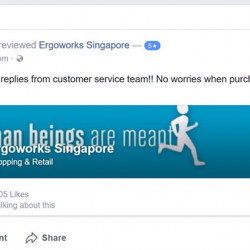 [Ergo Factors] Another customer satisfied with Ergoworks' quick and satisfactory customer service!