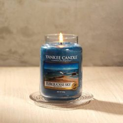 [Yankee Candle] Our fragrance of the month, Turquoise Sky, smells like sunny days by the beach.