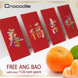 [Crocodile] FREE Crocodile Red Packets Receive an exclusive set of Ang Bao pack with $120 nett spent in a single receipt.