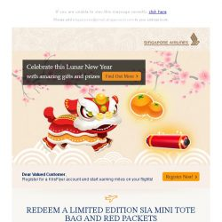 [Singapore Airlines] Redeem a limited edition SIA mini tote bag and red packets this Lunar New Year