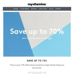 [MyVitamins] Extended Sale - Save Up To 70% on myvitamins!