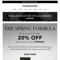 [Mankind] The Spring Formula | Save 20% Inside + Free Gift