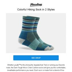 [Massdrop] Darn Tough Micro Crew Cushion Hike Socks: Colorful Hiking Socks for $31.5 Per (2-Pack)