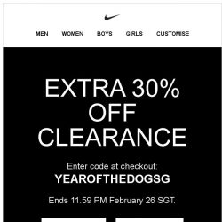 [Nike] Member Exclusive: Extra 30% Off Clearance