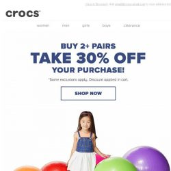 [Crocs Singapore] We love Mondays! Buy 2+ Pairs and take 30% OFF!