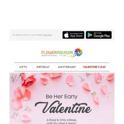 [Floweradvisor] VALENTINE'S SPECIAL: This Early Bird Deal Ends in 2 Days. Hurry Now!