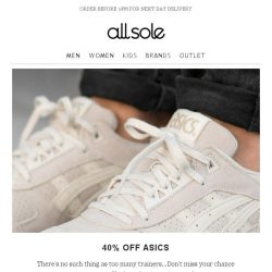 [Allsole] Email Exclusive   40% off Asics