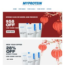 [MyProtein] Collect Your Red Packet | Get $58 Off