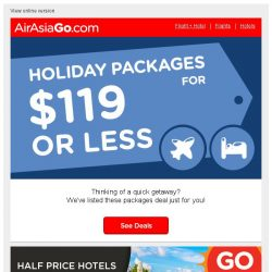 [AirAsiaGo] 🌟 Holiday Packages under SGD119 per person! 🌟