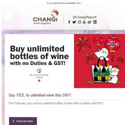 [Changi Airport] Psst , did you know that DFS is offering unlimited wine purchase this month?