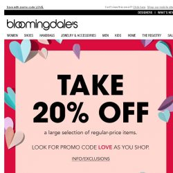[Bloomingdales] You'll love this: Take 20% off