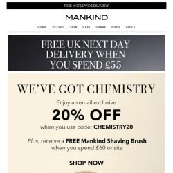 [Mankind] We've Got Chemistry | Save 20% Inside + Free Gift