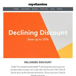 [MyVitamins] Declining Discount Reloaded | EXTRA 25% Off