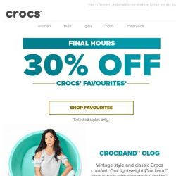 [Crocs Singapore] Final Call- Crocs' Favourite items, now 30% OFF!