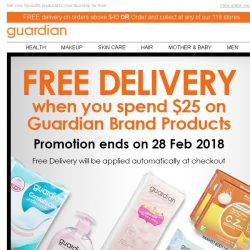 [Guardian] 🔶 Midweek special - FREE delivery for Guardian brand shoppers!