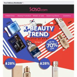 [SaSa ] 【Refresh Your Look】Best K-Beauty Sellers Up to 70% OFF!