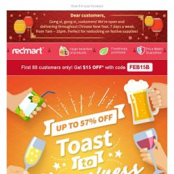 [Redmart] 🍊 Feeling lucky? Get $15 OFF your first order now!