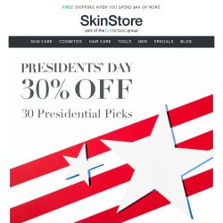 [SkinStore] 30% off Presidential Picks