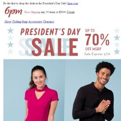 [6pm] President's Day Sale starts now!