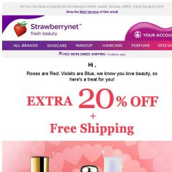 [StrawberryNet] , Only 1 Day Left to Get Extra 20% Off + Free Worldwide Shipping!