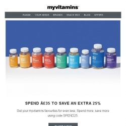 [MyVitamins] Up To 60% Off With An EXTRA 25%