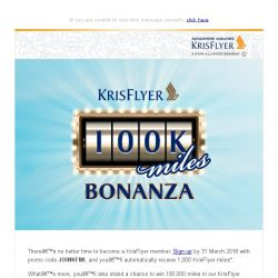[Singapore Airlines] Take off to a great year with 1,000 miles and stand to win 100,000 more
