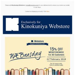 [Books Kinokuniya] WEBnesday is here! ⏰ For 24 hours only, enjoy 15% discount exclusively on Kinokuniya Webstore Singapore!