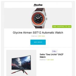 """[Massdrop] Glycine Airman SST12 Automatic Watch, Viotek 32"""" 1800R Curved 1440p 144hz Gaming Monitor, Seiko """"Sea Urchin"""" SNZF Watch and more..."""