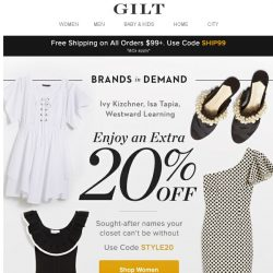 [Gilt] Extra 20% Off: Brands in Demand