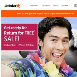 [Jetstar] ✈ Return for FREE sale is back! Check out some popular destinations going on sale.