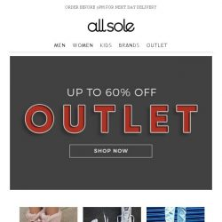 [Allsole] The OUTLET is now open