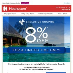 [Hotels.com] [ENDS TOMORROW] Last chance to use your 8% coupon!