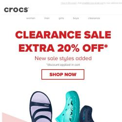 [Crocs Singapore] Super Clearance Sale Deal: EXTRA 20% off + New sale styles added!