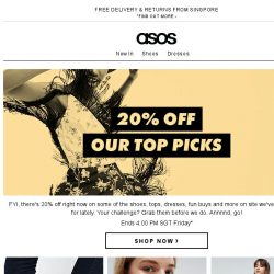 [ASOS] 20% off our top picks