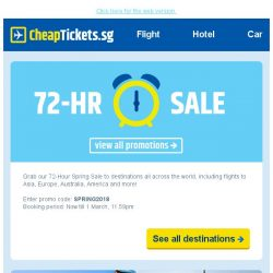 [cheaptickets.sg] ⏰ Only for 72 hours | Enjoy $20 instant discount to ALL destinations and travel dates